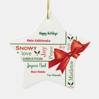 Ornement Étoile En Céramique Différentes langues de Joyeux Noël