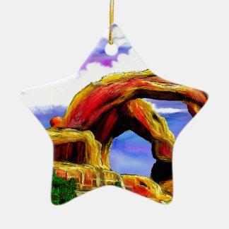 Ornement Étoile En Céramique Double peinture de paysage de voûte