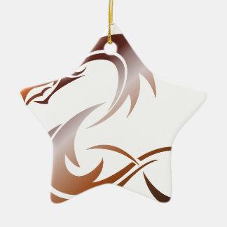 Ornement Étoile En Céramique Dragon métallique orange
