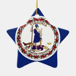 Ornement Étoile En Céramique Drapeau de la Virginie