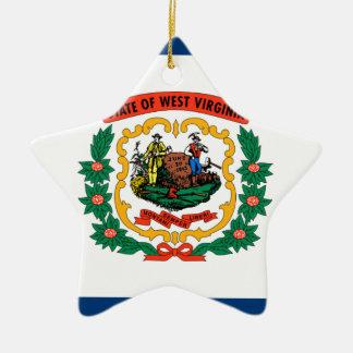Ornement Étoile En Céramique Drapeau de la Virginie Occidentale