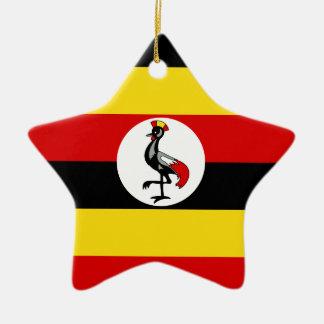 Ornement Étoile En Céramique Drapeau de l'Ouganda
