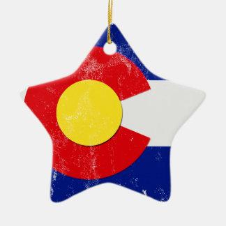 Ornement Étoile En Céramique Drapeau du Colorado affligé