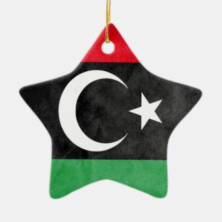 Ornement Étoile En Céramique Drapeau libyen