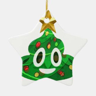 Ornement Étoile En Céramique Dunette Emoji d'arbre de Noël