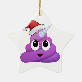 Ornement Étoile En Céramique Dunette Emoji de licorne de Noël