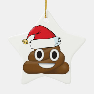 Ornement Étoile En Céramique Dunette hilare Emoji de Noël