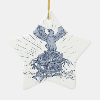 Ornement Étoile En Céramique Eagle et dessin de montagnes de dragon