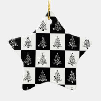 Ornement Étoile En Céramique Échecs d'arbre de Chirstmas