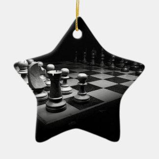 Ornement Étoile En Céramique Échiquier blanc noir du Roi de pièces d'échecs