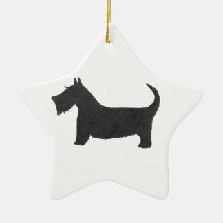 Ornement Étoile En Céramique Écossais Terrier