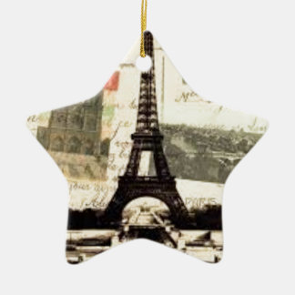 Ornement Étoile En Céramique Eiffel Tower vintage Paris