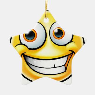 Ornement Étoile En Céramique Émoticône heureuse d'Emoji