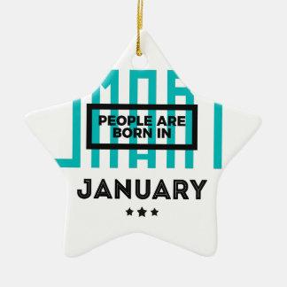 Ornement Étoile En Céramique En janvier anniversaire soutenu futé de bébés