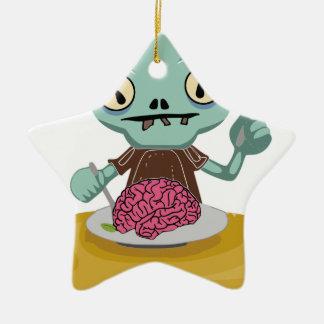 Ornement Étoile En Céramique enfant de zombi mangeant le cerveau