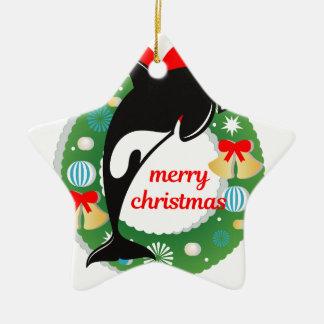 Ornement Étoile En Céramique épaulard de Joyeux Noël