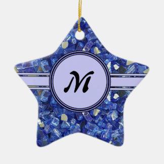 Ornement Étoile En Céramique Étincelle en verre bleue de monogramme de cristaux