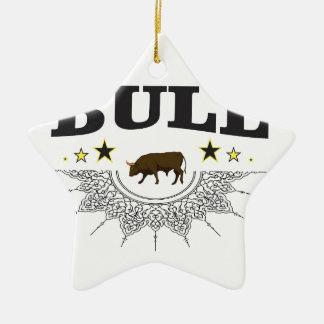 Ornement Étoile En Céramique étiquette brun de taureau
