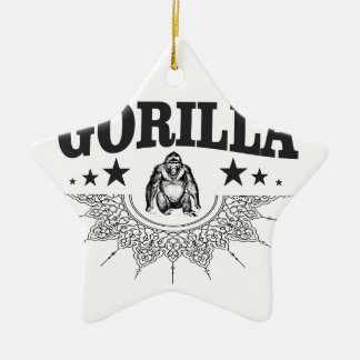 Ornement Étoile En Céramique étiquette de gorille drôle