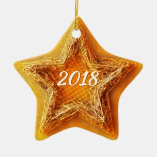 Ornement Étoile En Céramique Étoile 2018 de Noël