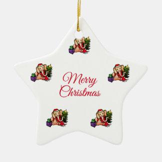 Ornement Étoile En Céramique Étoile blanche d'éléphants de Père Noël de Joyeux