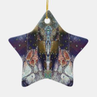 Ornement Étoile En Céramique Étoile magique de feuille d'érable