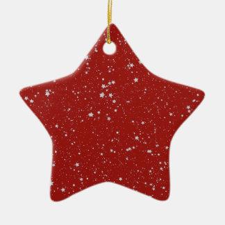 Ornement Étoile En Céramique Étoiles de parties scintillantes - rouge argenté