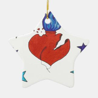 Ornement Étoile En Céramique Étoiles et coeur
