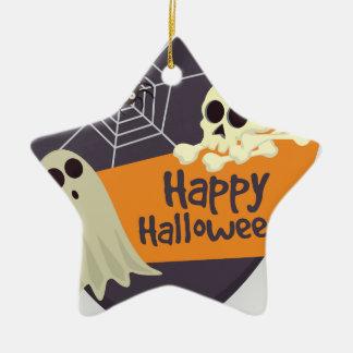 Ornement Étoile En Céramique Fantômes heureux et os croisés de Halloween