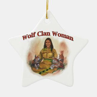 Ornement Étoile En Céramique Femme de clan de loup