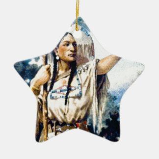 Ornement Étoile En Céramique femme indienne de squaw