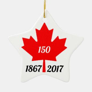 Ornement Étoile En Céramique Feuille d'érable du Canada 150 en 2017