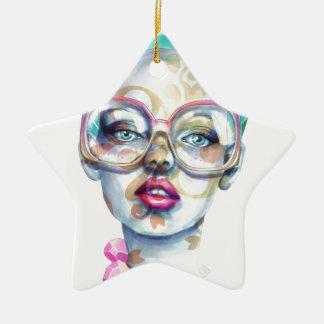 Ornement Étoile En Céramique Fille avec l'art pour aquarelle génial en verre