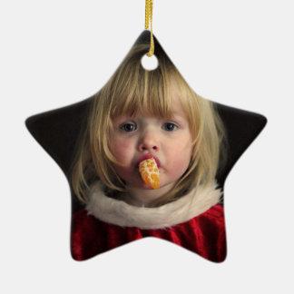 Ornement Étoile En Céramique Fille de Noël - enfant de Noël - fille mignonne
