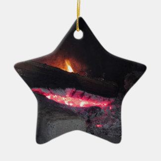 Ornement Étoile En Céramique Flèches de la chaleur de flamme du feu en bois
