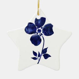 Ornement Étoile En Céramique Fleur bleue