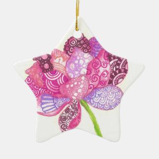 Ornement Étoile En Céramique Fleur de Lotus