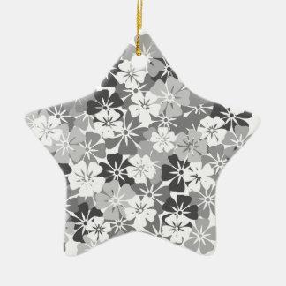 Ornement Étoile En Céramique fleurs camieu gris