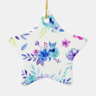 Ornement Étoile En Céramique Fleurs de pourpre d'aquarelle