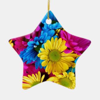 Ornement Étoile En Céramique Fleurs d'estrades