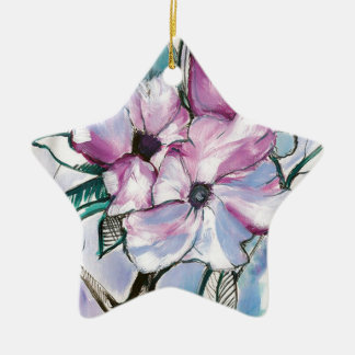 Ornement Étoile En Céramique Fleurs encrées