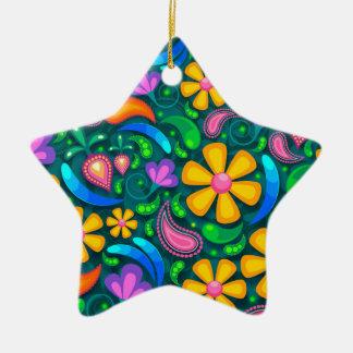 Ornement Étoile En Céramique floral