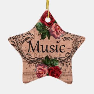 Ornement Étoile En Céramique Floral vintage pour l'amour de la musique