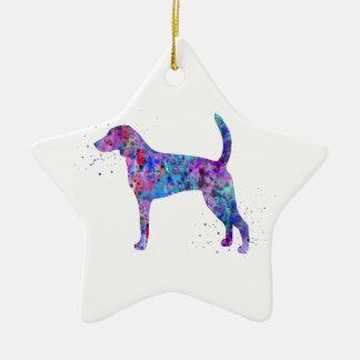 Ornement Étoile En Céramique Fox-hound américain, aquarelle de fox-hound