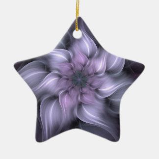 Ornement Étoile En Céramique Fractale pourpre