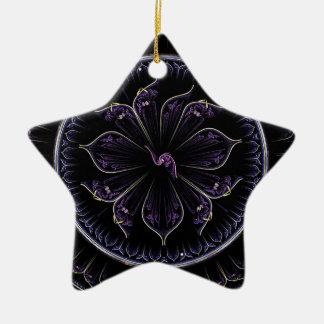 Ornement Étoile En Céramique fractale pourpre foncée