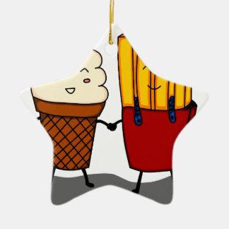 Ornement Étoile En Céramique Fritures et crème glacée