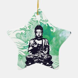 Ornement Étoile En Céramique Fumée d'émeraude de vague de Bouddha d'ouragan