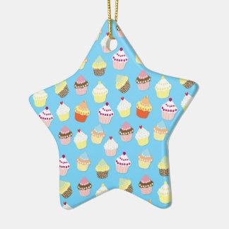 Ornement Étoile En Céramique Gâteaux bleus en pastel pâles de tasse