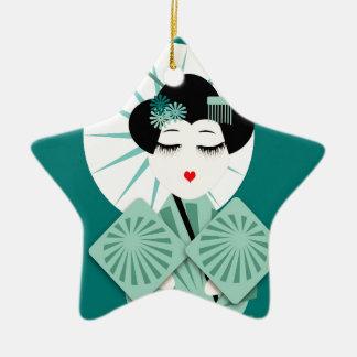 Ornement Étoile En Céramique Geisha